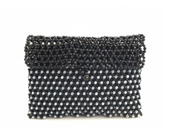 Vintage Black And White Beaded Clutch Evening Bag