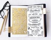 Planner Stencil, Bullet Journal Stencil, Brass Metal Stencil, Ornament Stencil - fits A5 journal & Midori  Regular