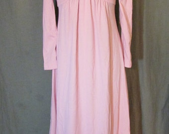 1970s Pink Evening Dress with V-neck and Long Sleeves | Handmade | Jersey Knit | Size 10 Medium