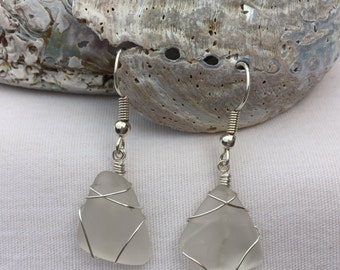 Clear Beach Glass Earrings