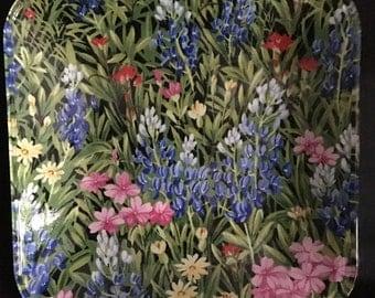 "Texas Bluebonnet Wildflowers 9"" Glass Plate"