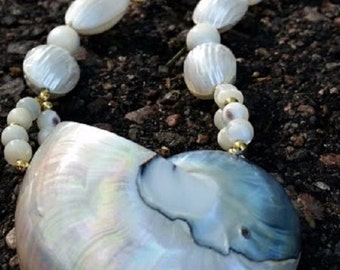 ABALONE SHELL Neckace with Iridescent Beads