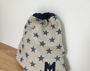 Boy's navy stars PE bag - can be personalised
