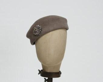 Pillbox, Khaki Felt Pillbox, Vintage Styled Women's Hat, Handmade, Women's Hat