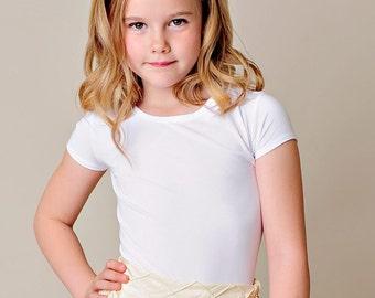Bamboo Clothing, Bamboo T-shirt, White Girl Shirt, Cap Sleeve, Girl Shirt, Girl White Top-Bethany