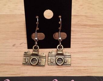 Clip Earrings/Necklace - bronze color camera / camera earring/necklace - bronze color