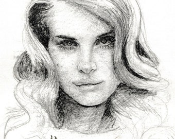 "Lana Del Rey Singer Graphite Pencil Sketch Drawing 5.5""x9"""