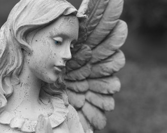 The Believer Sanctuary Donation Signed Fine Art Photography Print- Guardian Angel photograph- gray- home decor- wall art- wings prayer hands