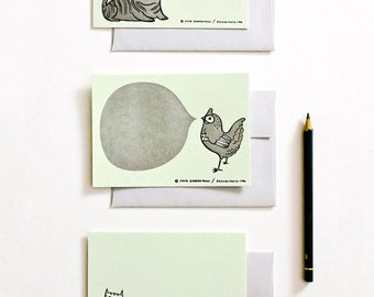 Letterpress Stationery Set - Animal Cards Set - Letter Press Cards Stationery Stationary Cards Letterpress