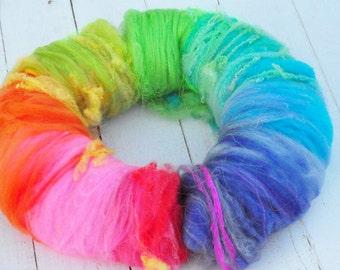 Textured, Chunky Carded Art Batts - Rainbow - 3 ounces - For Spinning or Felting