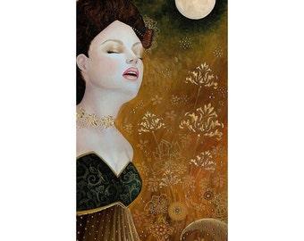 BK Lusk Luna Moon Fairy with Gold Leaf Flowers Original Art Nouveau Oil Painting