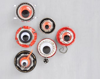 6 Industrial Eyes Magnets - recycled jewelry junk bottle caps buttons - strong refrigerator magnet set