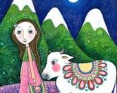 Girl and Cow Art Print Children's Wall Art Girls Room Decor Sacred Cow Art Animal Art Whimsical Folk Art Children's Wall Decor  - 'Nandi'