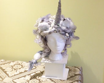 Silver Unicorn Headpiece/Wig- white/grey hair,crystals, long braid, silver horn, rabbit fur ears