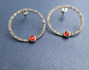 Large Sterling Hoop Post Earrings - Red Carnelian Gemstones