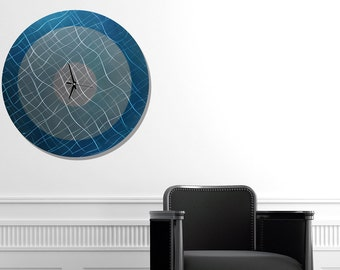 Large Contemporary Blue Metal Wall Clock, Round Modern Metal Wall Art, Abstract Hanging Circle Wall Clock - Vibrations in Teal by Jon Allen
