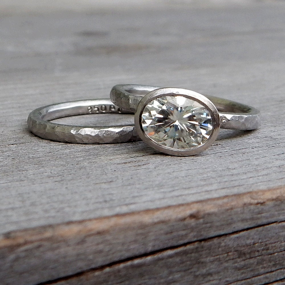 moissanite hammered engagement ring and wedding band oval On hammered wedding ring
