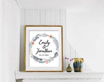 Custom Wedding PRINTABLE ART with Couple's Name and Date, Couple's Names Printable, Couple's Names Print, Personalised Wedding Gift 196