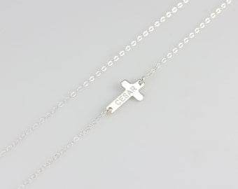 Personalized Name Cross Necklace / Sideways Cross Pendant Necklace / Engraved Nameplate Necklace Gold, Silver, Rose Gold Minimal Jewelry