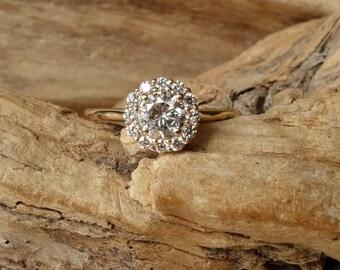 Petite Moissanite and Diamond Halo Ring