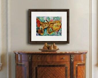 TUBA | musical art | gift for music lover | music gifts | musical artwork | collage art | mixed media art | fine art PRINT