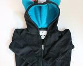 Baby Unicorn Hoodie - Size 3-6 month - Black with aqua - horned sweatshirt, rainbow mane, custom jacket, great gift for kids