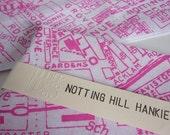 Notting Hill Hankie screen printed vintage map handkerchief