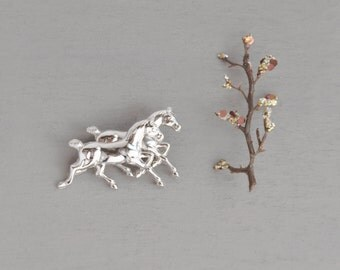 Vintage Sterling Silver Horse Brooch -  double running wild mustang pin - by Carl Art