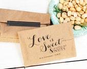 Love is Nuts Wedding Favor Bag - Nut Favor - Candied nuts - Hazelnut favor - Peanut Favor -  25 Bags