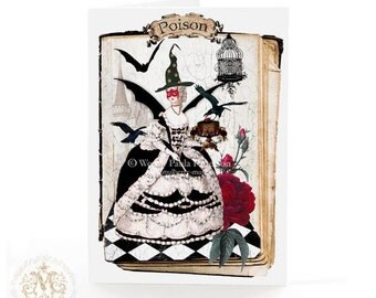 Marie Antoinette, Halloween card, witch, masquerade ball, haunted castle, crows, poison, cake, bat, harlequnin, rose, holiday card