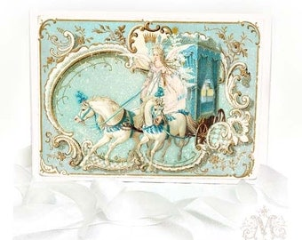 Snow Queen, Marie Antoinette, horse and carriage, vintage style, Christmas holiday card