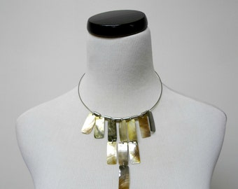 SALE!!! . ANTONETTE . mother of pearl . bib necklace / wire choker