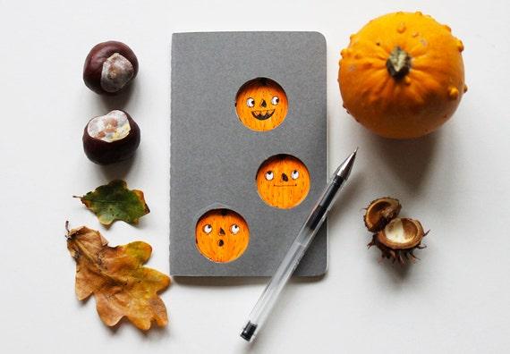 Black Friday Sale - Autumn pumpkin notebook. Grey Moleskine journal for Fall, with orange pumpkins illustration. Notebook, journal or gift