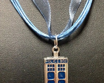 Doctor Who - Tardis Pendant on Blue Organza and Wax Cord Necklace