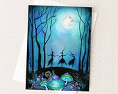 Witches Dancing under the Moon - Witch Dance Witches Ball Halloween Greeting Card or Party Invitation A2 - Elegant Unique Halloween Art