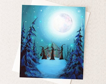 Witch Coven Halloween Card - Witchy Magic Woodland Forest Gathering - Greeting Card or Party Invite A2