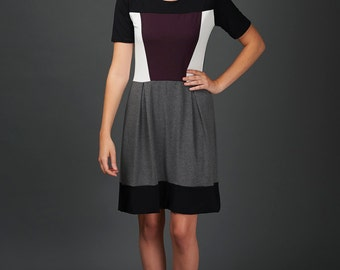Myra colorblock dress with short sleeves in bamboo jersey