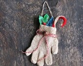 Decorative Primitive Christmas Glove Ornament