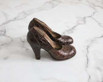 crocodile heels / 1930s heels / 1930s shoes