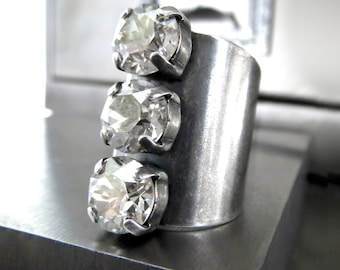 Tomboy Trio Crystal Ring in Crystal Silver, Antiqued Silver Crystal Ring, Silver Swarovski Crystal, Modern Oxidized Silver Adjustable Ring