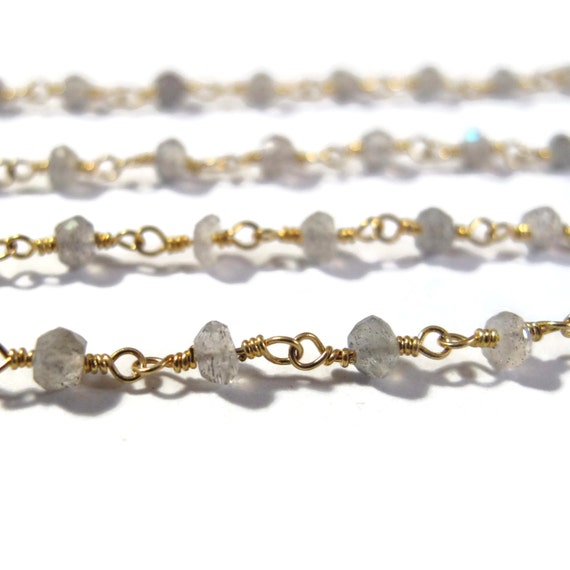 Labradorite Rosary Chain, 10 Feet of Gold Plated Chain, Hand Wrapped Beaded Gemstone Chain for Making Jewelry, Labradorite Rondelles