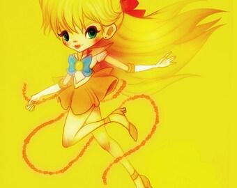 Sailor Venus - 5 x 7 Print - illustration art fanart love anime design manga kawaii girl pretty soldiers sailor scouts stars