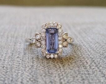 "Victorian Light Blue Sapphire Halo Diamond Flower Gemstone Engagement Ring Antique Filigree Emerald Cut 14K White Gold "" The Margaret"""