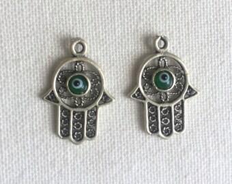 2 Green Evil Eye Filigreed Hand of Fatima Hamsa Khamsa Charms, Silver Plated
