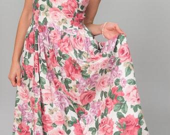 SALE-20% OFF-Vintage Pink Rose Floral Sun Dress (Size Medium)