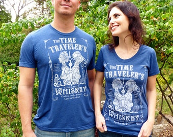 Couples Gift Set, Time Traveler's Whiskey T-shirt, Couples Shirts Set, Matching Couples Shirts, Booze Tshirt, Steampunk Whiskey Shirts