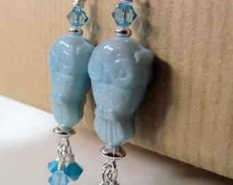 SALE Owl - Blue Glass Owl and Swarovski Crystal Beaded Sterling Silver Earrings - Wise One