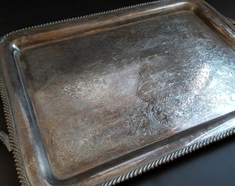 HUGE Wilcox Serving Tray -International Silver Large Silver Plated Tray with Handles 1940s 40s Silverplated Tray Ornate Engraved Table Decor