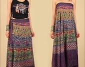 ViNtAgE Indian Cotton Maxi Wrap Skirt // Birds Block Print 70s // Bias Cut Hippie Bohemian Floral Festival Dress // Free Size