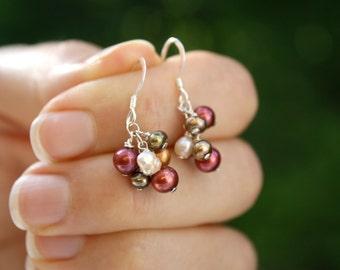 Multi Color Earrings Pearl . Fall Bridesmaid Earrings . Red Pearl Earrings . Colorful Earrings . Pearl Cluster Earrings - Namaste Collection